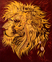 Lion, 20 x 24 inches, Acrylics on Canvas by Drea (Andrea Fuenzalida) 2014